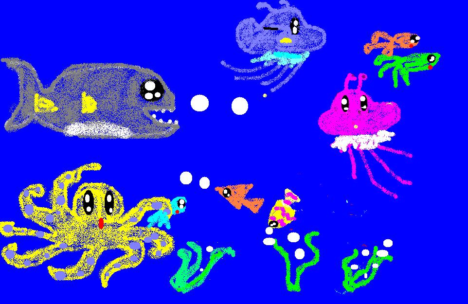 海底动物简笔画大全